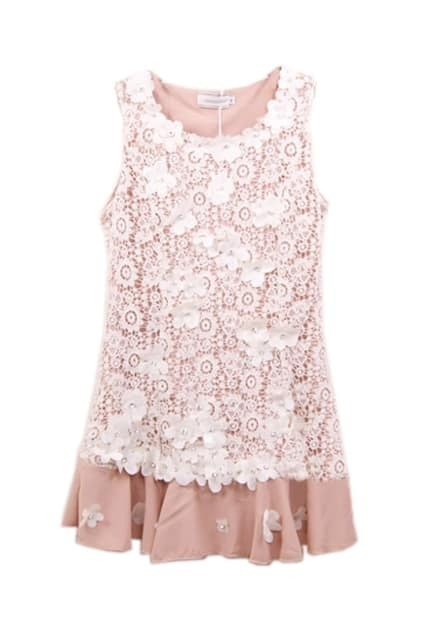 Pink Embroidered Shift Dress