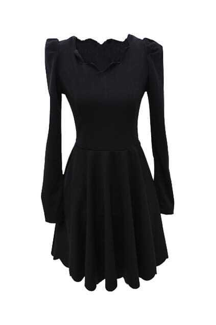 Flouncing Controlled Waist Black Dress