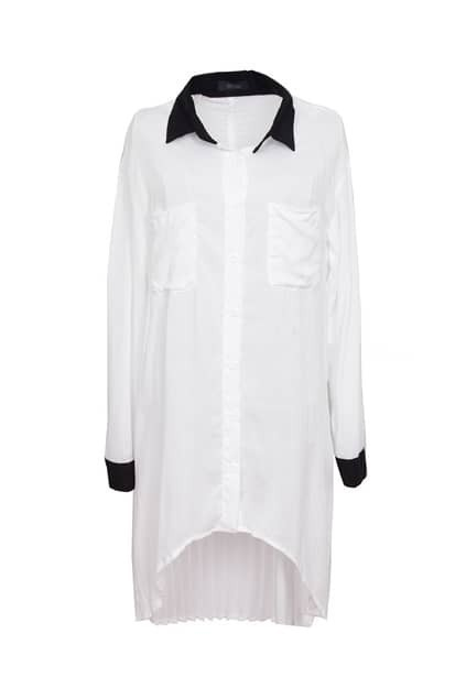 Drop Hem White Shirt Dress