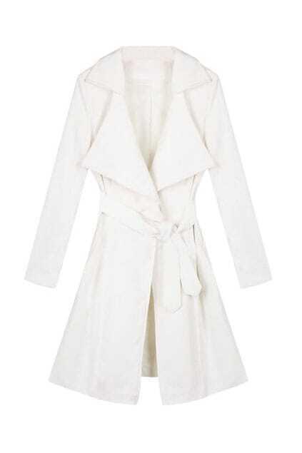 Feminine Belted White Longline Coat