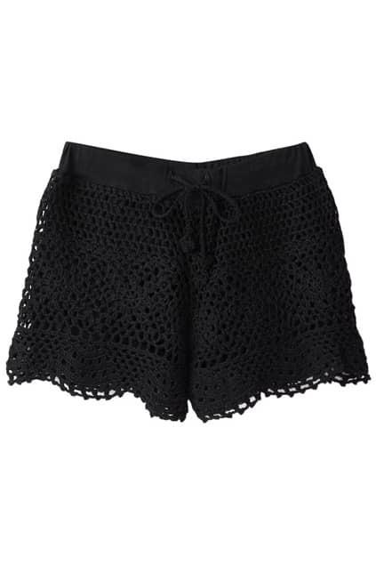 Retro Lace Hollow Black Shorts
