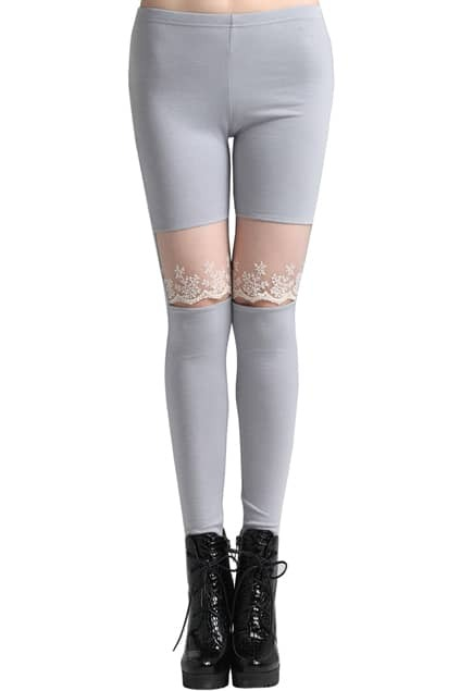 ROMWE Cut-out Knee Lace Panel Ankle Length Grey Leggings