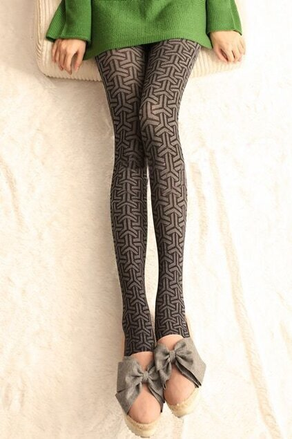 Clover Pattern Black-grey Tights