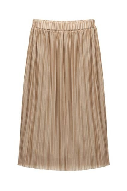 Brief Apricot Pleating Skirt