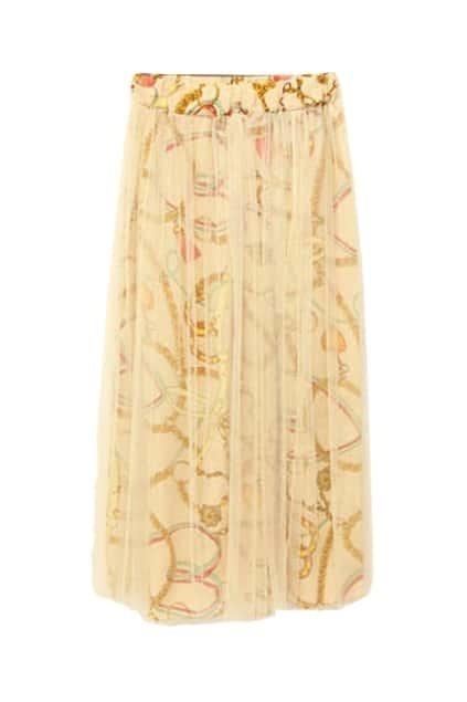 Retro Print Apricot Skirt