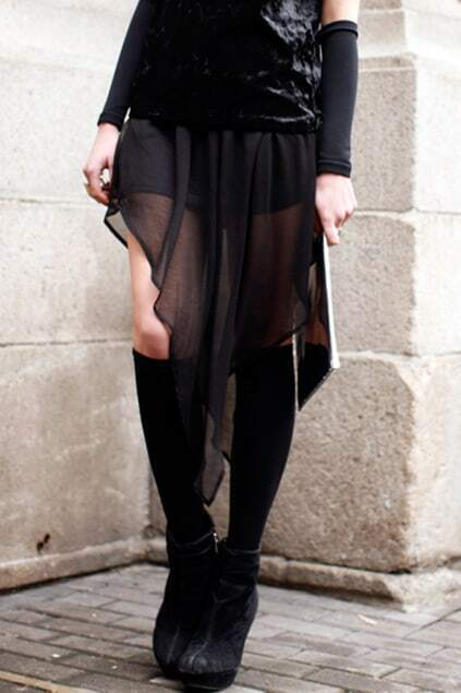 Anomalous Hem Black Skirt