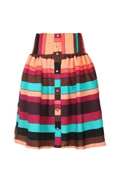 Highwaist Coloful Striped Skirt