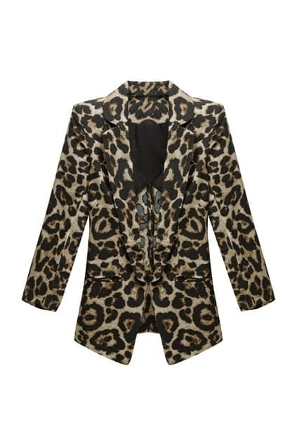 Shrug Detailed Leopard Blazer