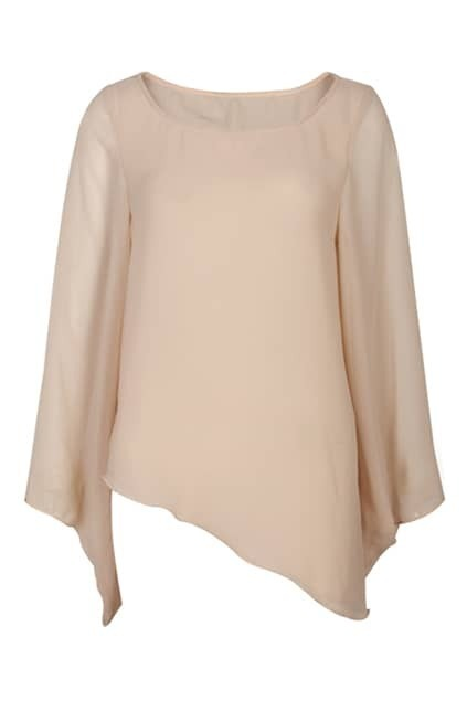Anomalous Lower Hem Nude Blouse