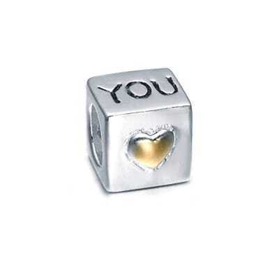 Gold and Sterling Silver Yellow Hearts Love Box  Bead Charms
