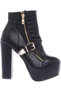 Bukled Embellished Black Vinyl Boots