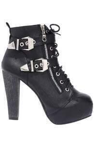Buckle Embellished Black Boots