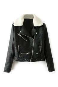 Faux Shearling Black Moto Jacket
