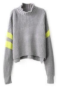 Asymmetric Knitted Grey Jumper