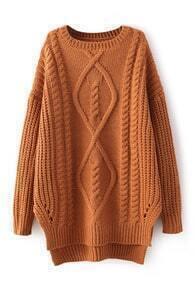 Twist Pattern Knitted Split Jumper