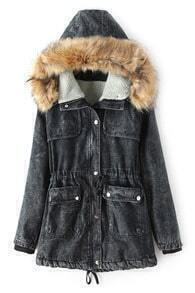 Black Hoodied Denim Coat