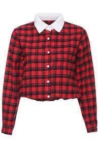 British Plaid Crop Shirt-Red