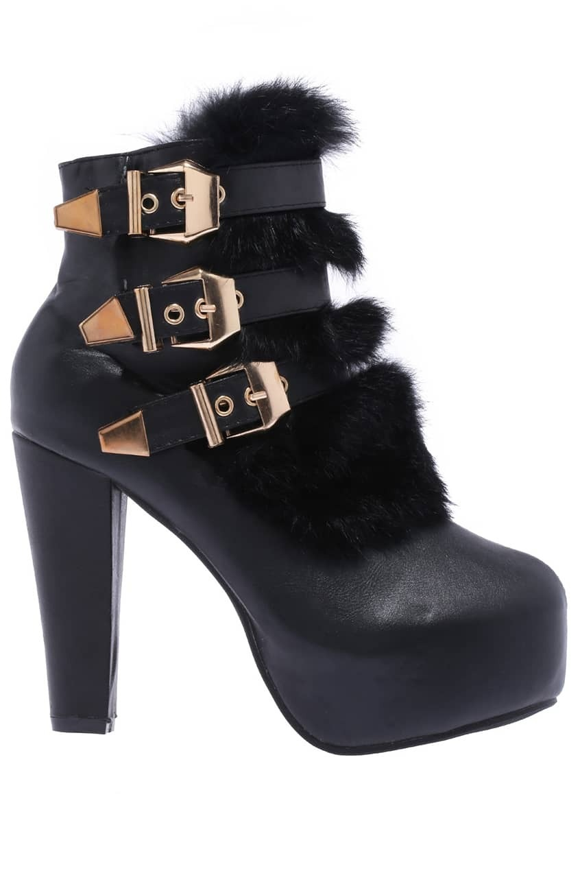 Fuzzy Buckle Ankle Boots