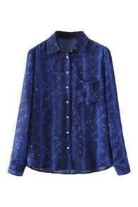 Snakeskin Print Blue Shirt