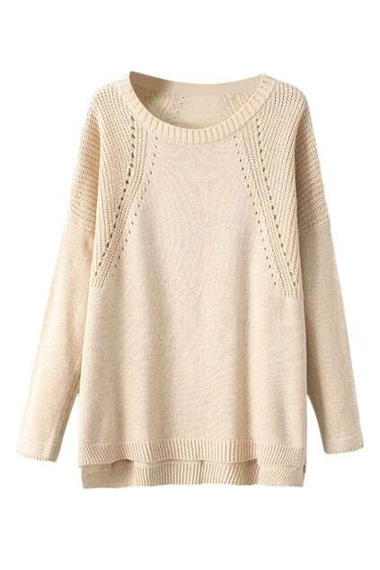 Asymmetric Hollow-out Cream Jumper