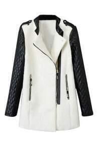 Zippered PU Panel Color Block Coat