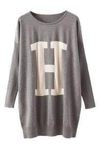 H Knitted Loose Grey Jumper