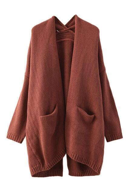 Double Pockets Buttonless Loose Cardigan