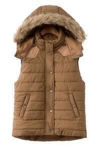 Detachable Hoodied Camel Vest