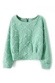 Jacquard Zippered Green Sweatshirt
