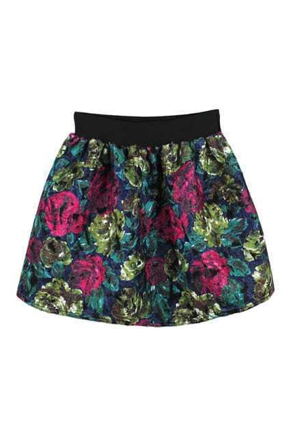 floral print high waisted puff skirt