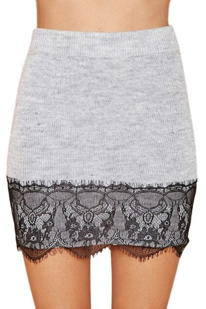 Lace Trimming Elastic Bodycon Skirt