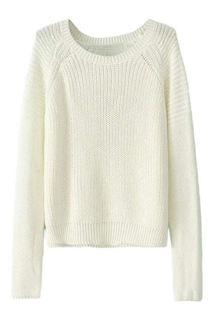 Round Neck Sheer White Jumper
