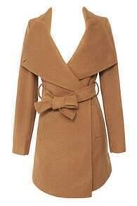 Self-tie Faux Woolen Coat