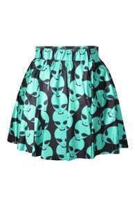 Alien Print High-waisted A-line Skirt