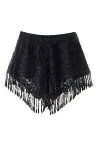 Lace Tassel Embellished Black Shorts