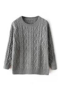 Rhombus Pattern Knitted Grey Jumper