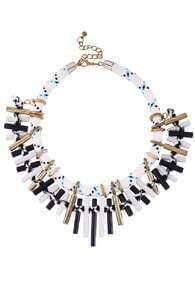 Dual-tone Metallic Bar Necklace