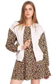 ROMWE Leopard Sleeved White Jacket