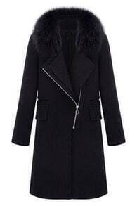 Faux Fur Black Zippered Coat
