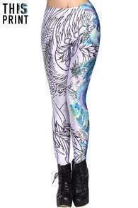 ROMWE Phoenix White Leggings