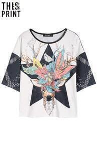 ROMWE Hand-drawn Deer T-shirt
