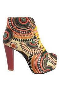 Floral Print High Heel Shoes