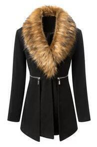 Faux Fur Zippered Black Coat