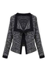 Lapel Dual-tone Knitted Cardigan
