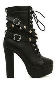Rivets Shoelace Black High Heels