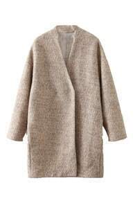 Single-breasted Loose Faux Woolen Coat