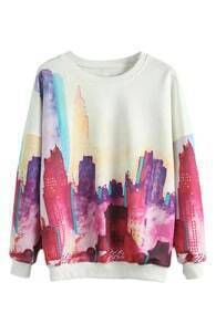 City Print SweatshirtFor Women-romwe