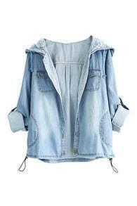 Rolled-up Hoodied Blue Denim Coat