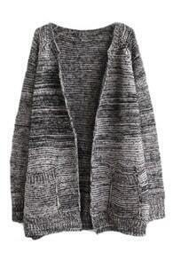 Fading Color Knitted Buttonless Loose Cardigan