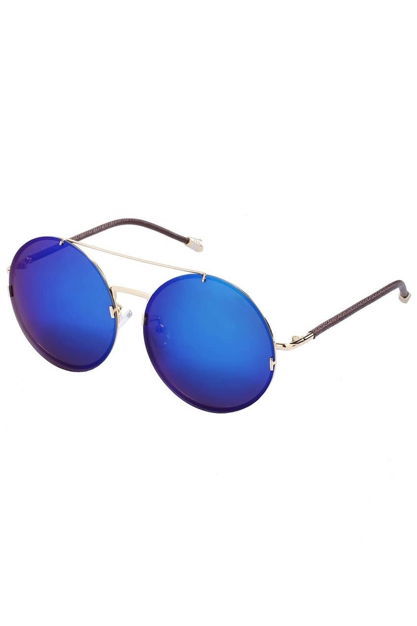Colored Lenses Round Blue SunglassesFor Women-romwe